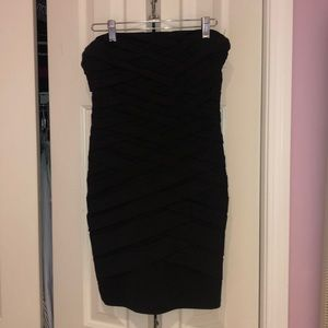 Strapless bodycon black dress